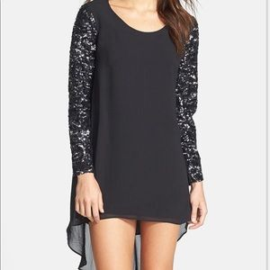 Dress The Population Sequin Sleeve High/Low Dress